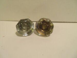 vintage Glass & metal Door Knob Replacement Parts. LOT OF 2
