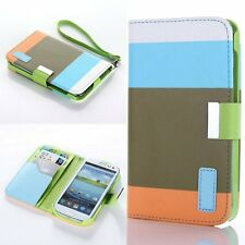 Leather Wallet Case for Samsung Galaxy S3 i9300 - Blue/Brown/Orange