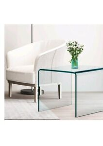 Glass End Table 1 Piece Table Indoor Transparent Clear Glass Square Glass Table
