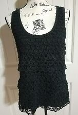 J.Crew Black Factory Layered Lace 100% Cotton Sleeveless Top Women Size Medium M
