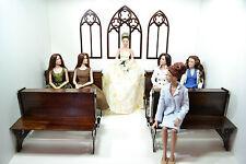 Gothic set for Dolls Tonner BJD1/4 16-18in Catholic Church wedding diorama OOAK