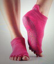ToeSox Women's Low Rise Hot Pink Half Toe Grip Socks