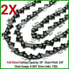 "2X CHAINSAW CHAIN FULL CHISEL 3/8 063 72DL FOR 066 MS660 034 038 STIHL 20"" BAR"