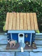 Wood Cabin Birdhouse, Hand Painted, Painted Brick Chimney Deer,