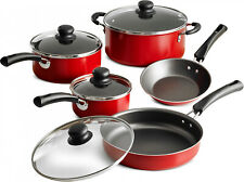 Non Stick Red Cookware Nice Full Set Kitchen Cooking Pots Pans and Lids 9 Piece