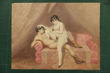 Erotique couple érotisme Aquarelle fin du XIXème siècle