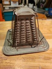 vintage 4 slice stove top open flam flame pyramid tin toaster