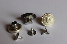 5 Jeansknöpfe / Patentknöpfe - Wappen / Krone - creme, ca. 15 mm Durchmesser