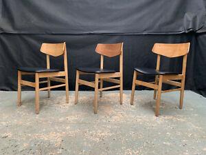 EB2075 Set of Three Danish Beech & Black Vinyl Dining Chairs Mid-Century Modern