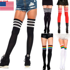 825a794ad Women Girls Striped Thigh High OVER the KNEE Socks Long Cotton Stockings NEW