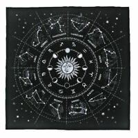 The Zodiac Tarot Cloth Decor Divination Cards Velveteen Square Tapestry - Black