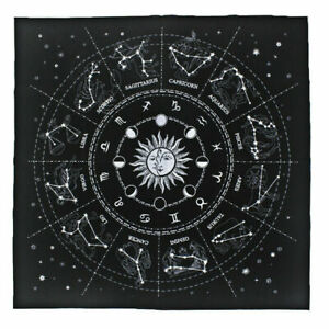 The Zodiac Tarot Cloth Decor Divination Cards Velveteen Square Tapestry - Black
