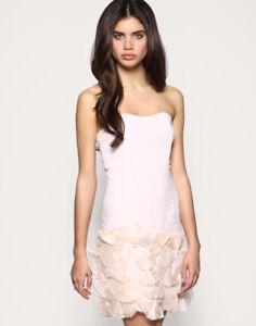 Women's Ladies ex Asos Ruffle Hem Bandeau Dress Strapless Party  Dresses