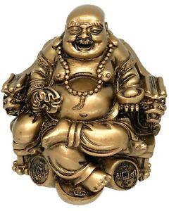 Feng Shui Laughing happy money buddha Sitting dragon chair statue decor gift
