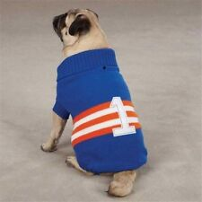 Zack & Zoey Collegiate 1 Dog Puppy Sweater Coat Jacket Blue Orange White XSMALL