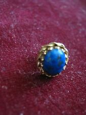 ONE 14K Yellow Gold Earring w/ OVAL LAPIS, Crenelated & Twisted Border, LNT Back