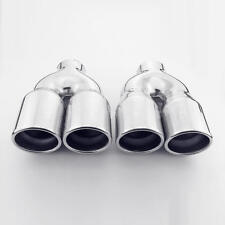 "2.25"" in Quad 3.15"" Out Dual Wall Exhaust Tips 304 Stainless Steel Round Angled"