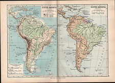 1895 VICTORIAN MAP ~ SOUTH AMERICA PHYSICAL & POLITICAL LAND HEIGHTS BRAZIL PERU