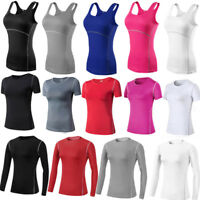 Womens Workout Gym Running Yoga Vests Tops Slim Dri fit Tights Moisture Stretchy