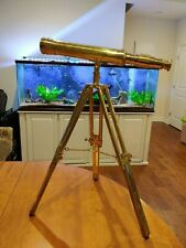 "Executive Nautical Brass Telescope 19"" Tripod Discover the World In Box Complete"