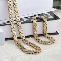 Charming Silver&Gold Stainless Steel Byzantine Necklace&Bracelet Men Jewelry Set