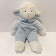 Russ Berrie Rattle Pals White Lamb Plush Blue Outfit Checkers 12 Inch Sheep