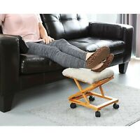 Etna Sherpa Top Foot Rest - Rolling Collapsible Cushioned Foot Stool Ottoman