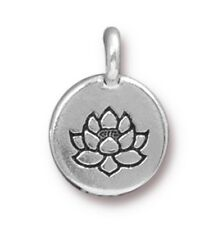 TierraCast Lotus Charm, Antiqued Silver Plated Pewter (T101)