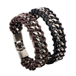 Punk Mens Stainless Steel Braided Leather Bracelet Wristband Bangle Cuff Jewelry