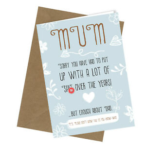 #130 Put up with Sh*t MOTHERS DAY or BIRTHDAY Greeting Card Funny Rude Humour