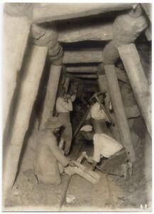 Acquedotto pugliese in costruzione Operai in galleria Foto originale 1910c L648