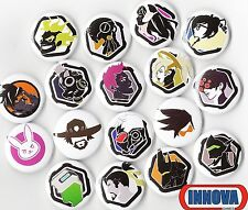 """OVERWATCH BUTTON PACK 6 RANDOM BUTTONS 1"""" INCH PIN BACK TRACER REAPER VIDEO"""