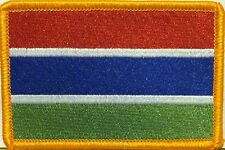 GAMBIA Flag Iron On Patch West Africa EMBLEM Gold Border #01