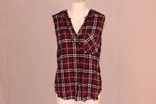 Polly & Esther Juniors' Hooded Plaid Top, Burgundy/Cream Button Down NWT #3700