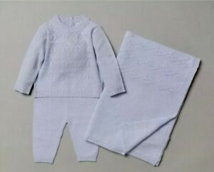Baby boys Spanish traditional style knitted outfit with shawl/blanket