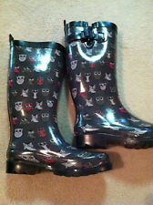 Capelli New York Shiny Pop Owl Printed Rain Boots Size 6 Gray Pink White