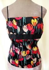 Linea Satin Black Multi Red yellow Tulips Floral Bodice Bustier Corset Top 14