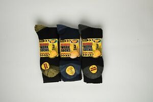 Mens Work boot Socks Reinforced Heel Toe Cushioned Protection comfort stay up