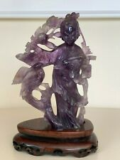 Antique Chinese Kwan Yin Hand Carved Amethyst Figurine on Wood Stand