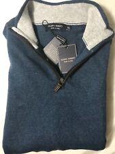 Filippo Riberti Mens Navy Blue Wool Blend 1/2 Zip up Sweater XL NWT New Italy
