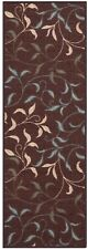 7 ft. Brown Leaves Rug Runner Contemporary Floor Area Long Hallway Mat Backing