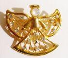 broche rétro ange finement travaillé cristaux diamant perle couleur or 2883