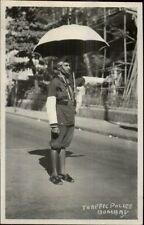 Bombay Indian Traffic Police Cop Real Photo Postcard