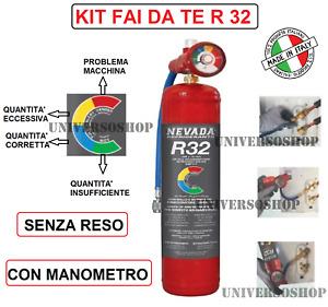 GAS R32 REFRIGERANTE RICARICA PER CLIMATIZZATORI KIT FAI DA TE CON MANOMETRO