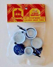Miniature Dollhouse Blue Spatterware Pots, Pans, Lids By Town Square Miniatures