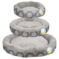 ME & MY PETS SOFT GREY WASHABLE DOG/PUPPY/CAT BED WARM COSY ROUND CUSHION S/M/L