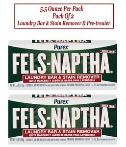 Purex Fels-Naptha Laundry Bar & Stain Remover & Pre-treater, 5.5 Oz Pack of 2.