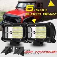 "PAIR 5"" 288W CREE LED Light Pods A Pillar Mount Bracket For Jeep Wrangler 07-17"