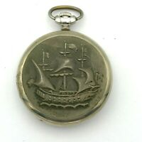 Russo Molnija Nave Cupronichel Vintage Orologio da Tasca Meccanico 12 24 Ore