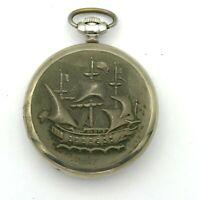 Russian MOLNIJA Ship Cupronickel Vintage Pocket Watch Mechanical 12 24 Hour 3602